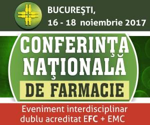 Conferința Națională de Farmacie 2017 se va desfășura în perioada 16-18 noiembrie
