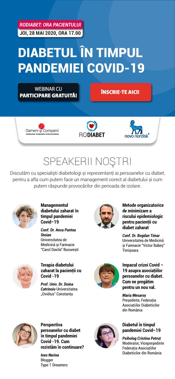 Webinar RoDiabet – Ora Pacientului: Ce măsuri luăm pentru a ne proteja de Covid – 19 dacă avem diabet zaharat