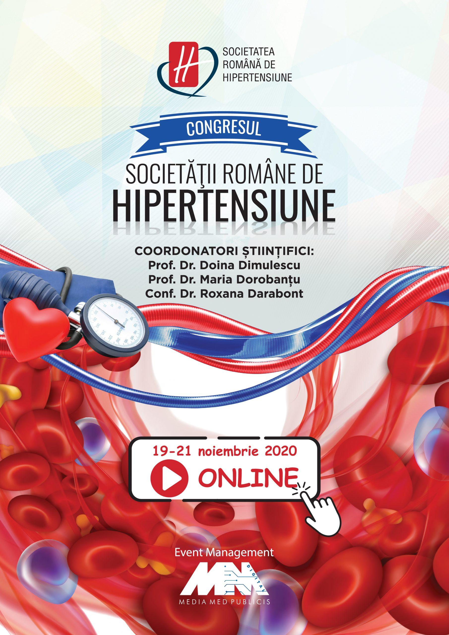 Congresul Societăţii Române de Hipertensiune Arterială se va desfăşura online, în zilele de 19-21 noiembrie