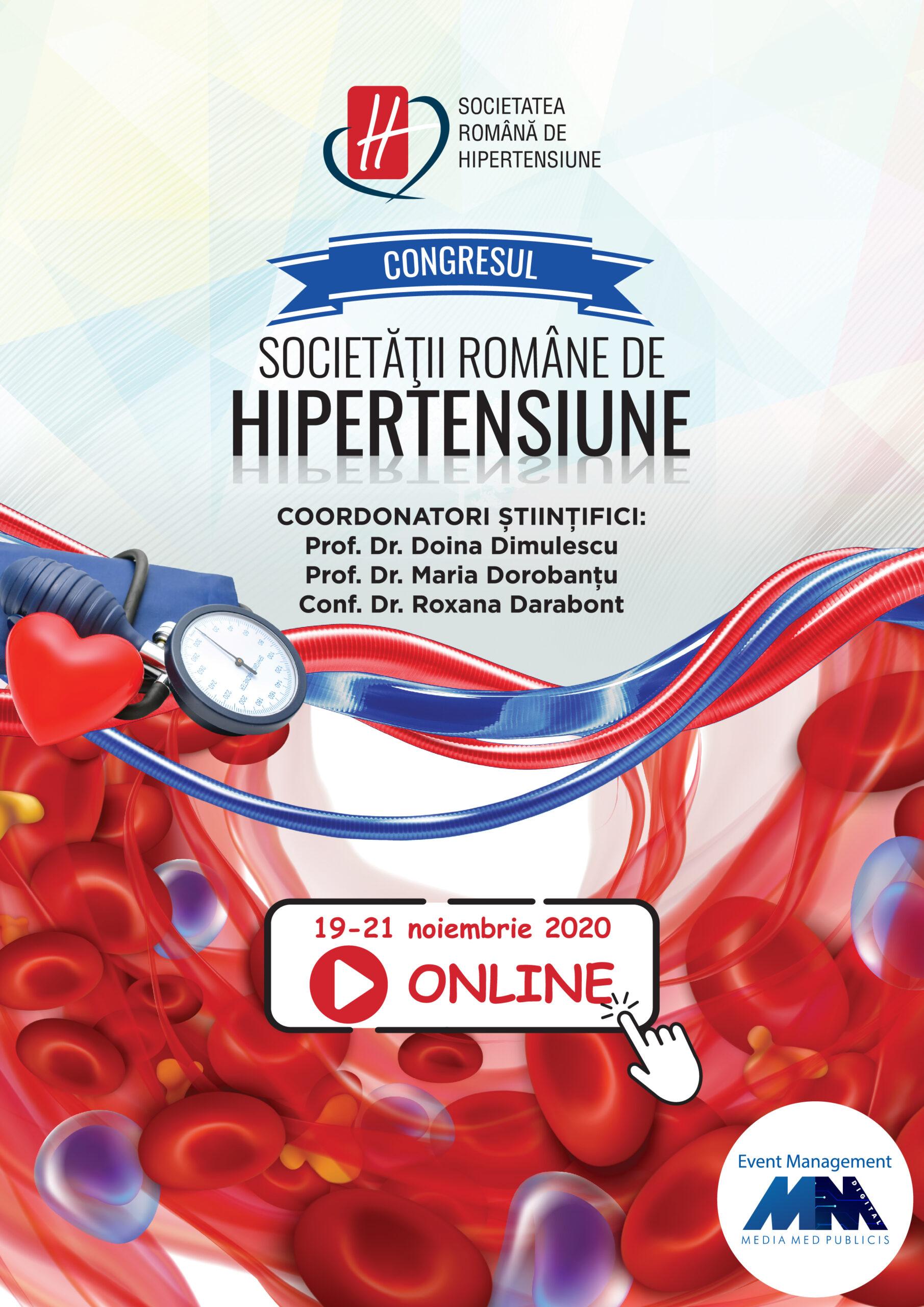 Congresul Societăţii Române de Hipertensiune Arterială: 19-21 noiembrie, online