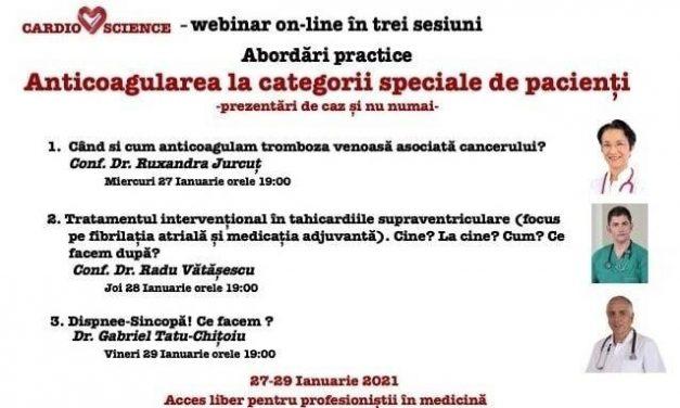 Nou webinar marca CARDIOSCIENCE: Anticoagularea la trei categorii speciale de pacienți