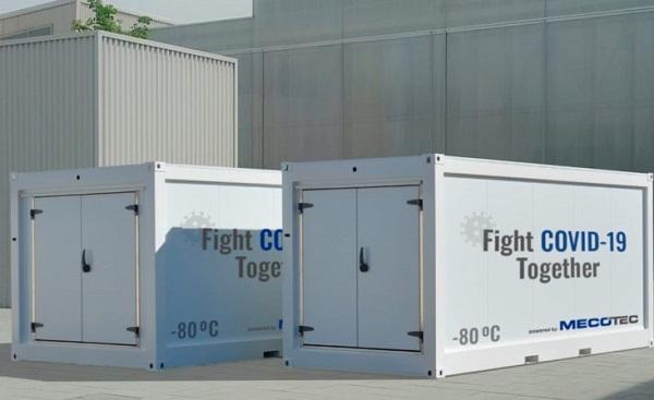 Containerele în care se transporta ton proaspăt, folosite pentru vaccinuri