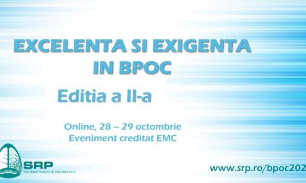"""Webinarul """"Excelență și exigență în BPOC"""", ediția a II-a: 28-29 octombrie"""