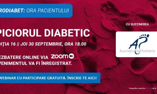 """Ora Pacientului RoDiabet: Pe 30 septembrie descifrăm misterele """"Piciorului Diabetic"""""""
