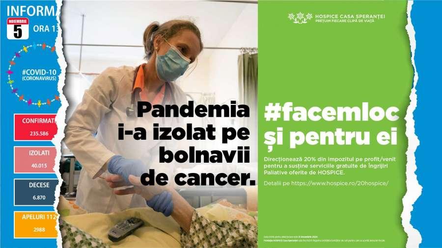 #Facemloc și pentru ei – HOSPICE Casa Speranței, nou apel în numele bolnavilor de cancer