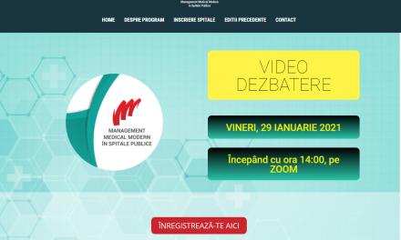 """O nouă Dezbatere Profesională """"Management Medical Modern în spitale publice"""": vineri, 29 ianuarie, online"""